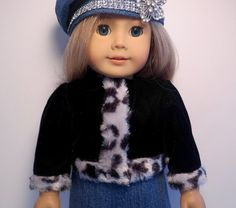 18 inch Doll Clothes. Handmade Girl Doll by BettyAllanDesigns.  Black velvet waist coat with faux fur animal print trim.