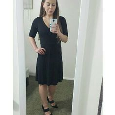 """Ann Taylor dress Black, semi-formfitting dress from Ann Taylor. Very soft, a little stretch to it. Size 4 but fits like a 6. Worn less than ten times. Knee-length for me (5'4""""). Great condition. Sales only (no trades). Ann Taylor Dresses Midi"""