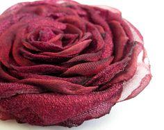 Hair Clip Handmade & Hand Sewn Red Rose Hair by TheVelvetBegonia