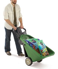 Garden Cart/Dolly - 2-in-1 tool as a wheelbarrow to tote mulch, soil & more across the yard. Stand it up on two wheels and it easily handles large items like a 32-gallon trash can.