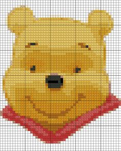 This is a Winnie Pooh pattern I made. It was my very first attempt at creating a cross stitch pattern with photoshop, so it might not be perfect Hope yo. Cross Stitch Patterns Free Disney, Cross Stitch Charts, Cross Stitch Designs, Winnie The Pooh Blanket, Winne The Pooh, Graph Crochet, Crochet Patterns, Crochet Cross, Embroidery Patterns