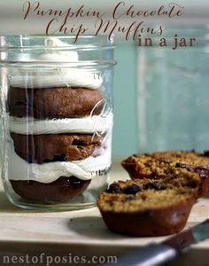 Pumpkin Chocolate Chip Muffins in a Jar! With cream cheese frosting. It's perfection in a jar! via Nest of Posies