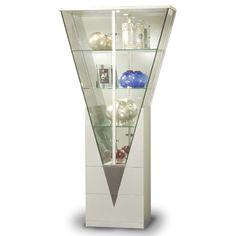 Triangular Curio Cabinet with Mirrored Interior in Silver