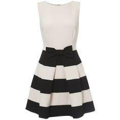 Monochrome Stripes Bow Dress ($50) ❤ liked on Polyvore featuring dresses, vestidos, short dresses, robes, a line mini dress, bow dress, short striped dress and mini dress