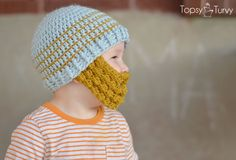 Free pattern for a crochet bobble beard to attach to your favorite beanie, in sizes extra small, small, medium and large. Linked to a free multi-sized beanie pattern. Because who doesn't lov a crochet beard hat!