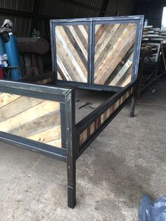 Reclaimed wood Industrial bed by ASHomeDesigns on Etsy