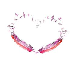 idea for a tattoo - pink for cancer survivor and feathers for angel wings. heart for love. Watercolor Tattoo Feather, Feather Art, Feather Tattoos, Watercolor Painting, Feather Painting, Painting Art, Feather Design, Watercolor Heart, Red Feather