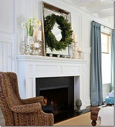 Large Mirror (Restoration Hardware) with wreath over it (Contact hook) Pillar candles, Christmas Mantle