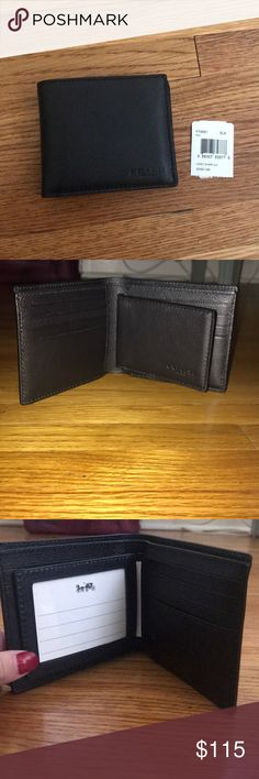 """Men's Coach Billfold ID wallet Men's billfold ID wallet. Sport calf leather, three credit card slots, full length bill compartment, ID window, 4"""" X 3"""" X 1/2"""". NEW WITH TAGS. NEVER USED! Coach Bags Wallets"""