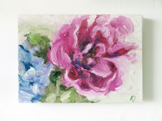 Original Flowers Oil Painting on canvas 5x7 by Katie Jobling  Creating these cute flower bombs on canvas, was a celebration of Spring on its…