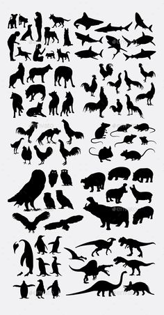 Animal Silhouettes by Silhouette Painting, Animal Silhouette, Shark Silhouette, Ballerina Silhouette, Stencil Designs, Creature Design, T Rex, Sticker Design, Easy Drawings