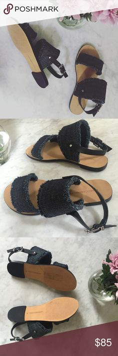 Sale! {Rebecca Minkoff} Denim Slingback Sandals 😍 PRODUCT DETAILS Denim upper, black slingbacks, leather sole Imported Fits true to size Open toe; buckled slingback strap Frayed denim edges at straps New, never worn (I no longer have the box) Offers welcome ✨ Rebecca Minkoff Shoes Sandals