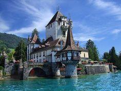 Castle in Spiez on the shores of Lake Thun near Interlaken, Switzerland