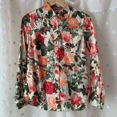 Talbots Tops | Nwot Talbots Floral Button Up Shirt Safari Sleeves | Poshmark Floral Button Up, Blossoms, Talbots, Colorful Shirts, Safari, Collars, Button Up Shirts, Floral Tops, Stripes