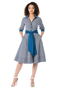 Our gingham check cotton shirtdress is cinched in with a removable contrast sash tie belt and tailored to fit at the princess seamed bodice and flare from the high seamed waist to the full skirt. Modest Dresses, Casual Dresses, Fashion Dresses, Maxi Dresses, Evening Dresses, African Traditional Dresses, Frock Design, African Print Fashion, African Dress