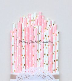 50 Light Pink and Gold Foil Star Straws/Twinkle Twinkle Little Star/Baby Shower #Unbranded