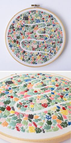 Libby Moore of Thread Folk has collaborated with illustrator Lauren Merrick on a collection of modern embroidery patterns. Libby Moore of Thread Folk has collaborated with illustrator Lauren Merrick on a collection of modern embroidery patterns. Folk Embroidery, Japanese Embroidery, Hand Embroidery Stitches, Modern Embroidery, Hand Embroidery Designs, Cross Stitch Embroidery, Machine Embroidery, Embroidery Ideas, Flower Embroidery