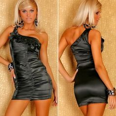 Sexy Women Black One Shoulder Satin Evening Cocktail-Dress LC2519 -- BuyinCoins.com