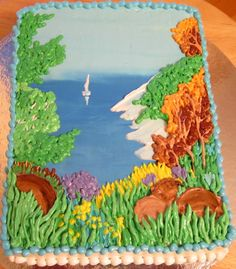Beautiful Cakes, Amazing Cakes, Sheet Cake Designs, Nature Cake, Cake Writing, Icing Flowers, Butter Icing, Easy Cake Decorating, Big Cakes