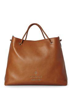 cfb1eceec7 GUCCI Cognac Textured Leather Logo Tote