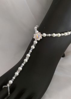 d08e06c9f535f Rhinestone Flower Bridal Barefoot Sandals Anklet Bracelet