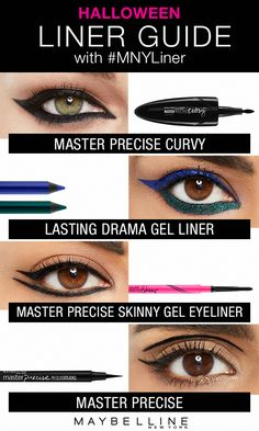 Try these four Maybelline eyeliner styles that will add a little drama into any Halloween costume. Whether you're looking to achieve a bold cat eye, subtle winged eye or colorful eye look, Maybelline has the eyeliner you need. Click through to view the Maybelline eyeliner gallery for more Halloween makeup inspiration. #Wingedliner #PerfectEyeliner