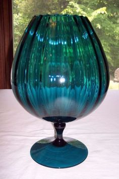 Mid Century Italian Empoli Glass Apothecary Jar Circus Tent Lid Blue Green Teal Peacock