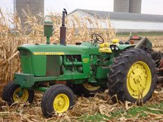 """4020 John Deere - When I was a boy, this was our """"big"""" tractor. With a cab it looked a lot bigger. My favorite """"job"""" was when I got to ride along - squeezed in between the seat and the wall of the cab. We could talk while watching whatever we were doing with the crops; whether it was cultivating, harvesting, or plowing. I didn't get to do it often, (kids had to work, too) but those times were very special to me. TAO"""