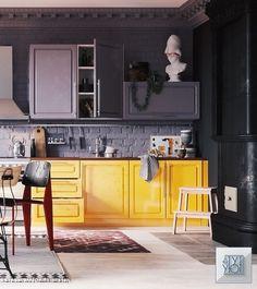 Loft Interior, Bakery Interior, Kitchen Interior, Interior Design Living Room, Interior Architecture, Interior Decorating, Pantone, Flat Design, Cozy House
