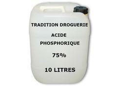 Concentration : 75%. Etiquetage :CE 231-633-2.  Cas : 7664-38-2. Formule chimique : H3PO4.   Acide Phosphorique (phosphate hydrogène) est un acide minéral qui est utilisé pour enlever la rouille de pièces métalliques et protége de l'oxydation à l'air libre.