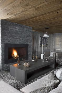 Luxury Living Room Interior Design In The French Alps Photography By Serge Anton. 2013 Trend…Greige Luxury Living Room Interior Design In The French Alps Photography By Serge Anton. 2013 Trend…Greige was last… Masculine Living Rooms, Masculine Interior, Gray Interior, Interior Design Living Room, Living Room Designs, Living Room Decor, Living Spaces, Interior Decorating, Interior Ideas