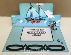 Karen Aicken using the Pop it Ups Rectangle Pull Card and Beach Edges die sets by Karen Burniston for Elizabeth Craft Designs. - C4C300 Ride The Wind Day