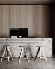 Minimalist Interior, Modern Interior, Interior Architecture, Interior Design, Apartment Interior, Kitchen Interior, Kitchen Design, Dining Furniture, Furniture Design