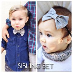 Gray metallic dots bow Sibling set