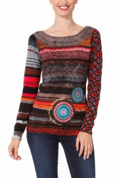 Desigual women's Lesliett jumper. The mandalas are made of fabric offcuts and include embroidered sequin detailing. It features a message embroidered in lurex thread. Slim fit.