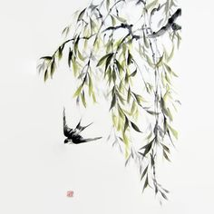 Japanese Ink Painting Japanese art Asian art  Sumi-e Suibokuga  Rice paper  Black Large 18x28 inch Willow and swallow