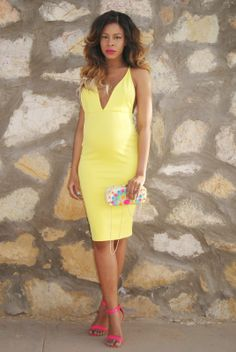 yellow dress, spring dress, clutch bag, #ombre #hair #maternity style, #babybump allthingsslim