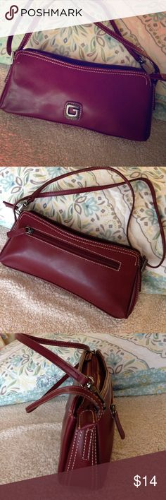 "Guess Deep Red Small Handbag 👜 ✨Guess Deep Red Small Handbag 👜 Size 10 1/2"" x 4 1/2"" x 1 1/2"", gently used, has 3 tiny white specks on front. Guess Bags Mini Bags"