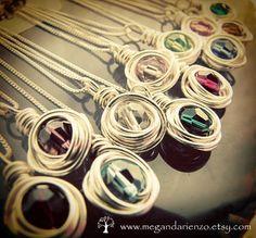 Personalized with your bridesmaids birthstones.  Set of Three Bridesmaid Necklaces- simplicity @megandarienzo