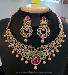 Gold Plated AD Choker Necklace Designs, AD Choker Necklace Collections, Imitation AD Choker Necklace Designs.