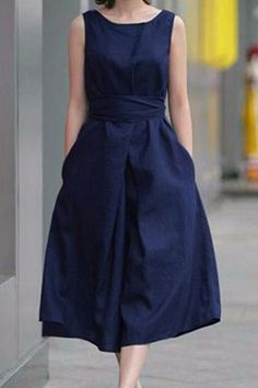 Back Bowknot Solid Color Sleeveless Dress
