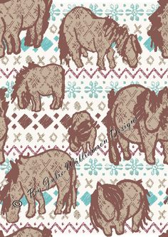 Shetland Pony Collection fabric, more images can be found at www.facebook.com/juliewilliamsondesigns