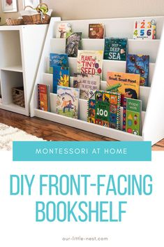 I've had a lot of positive feedback and inquiries about the front-facing bookshelf that my husband built for our oldest daughter for her first birthday. We i home diy DIY Front-Facing Bookshelf