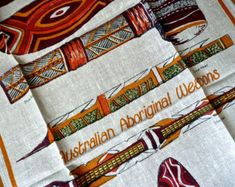 Australia - Vintage Linens - Tea Towel - Collectible - Never Used - Australian Tea Towel - Wall Hanging - Tribal Weapons - Alice Springs