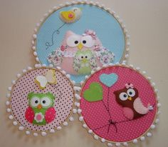 """these embroidery hoops would look adorable nestled along balloons and pom poms for a birthday party """"_"""