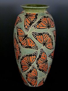 Common Ground Pottery Monarch Butterfly Vase