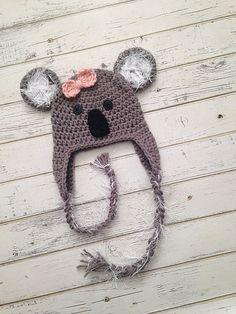 Crochet Koala Bear Hat Animal Photo Prop Baby by NewYarnCreations