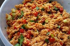 Red couscous & salad 2 The post Red couscous & salad 2 appeared first on Salat rezepte. Chef Salad Recipes, Veggie Recipes, Easy Salads, Healthy Salads, Feta, Cottage Cheese Salad, Bulgur Salad, Seafood Salad, Vegan Nutrition