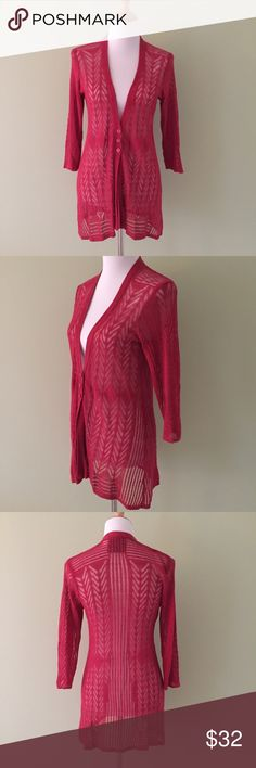 Anthropologie Guinevere Red Sheer Lace Cardigan L Gorgeous Anthropologie Sweater by Guinevere Pretty Red Cardigan Sweater Thin and lace type knitting.  V-neck. 3 buttons at the waist.  3/4 sleeves. Size Large Excellent condition. Anthropologie Sweaters Cardigans