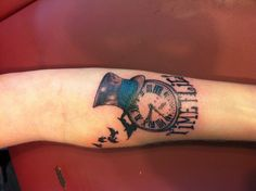 Time flies tattoo with crows clock & top hat.... Tattoo done by Robert Winter, Everlasting Ink